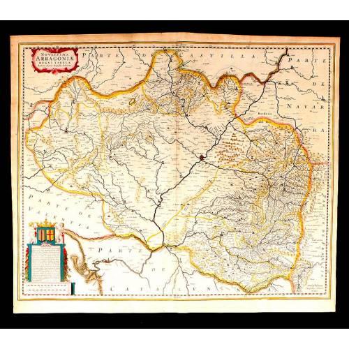 Magnífico Mapa Antiguo de Aragón Coloreado a Mano. Janssonius-Joan Baptista Labaña. Holanda, 1638