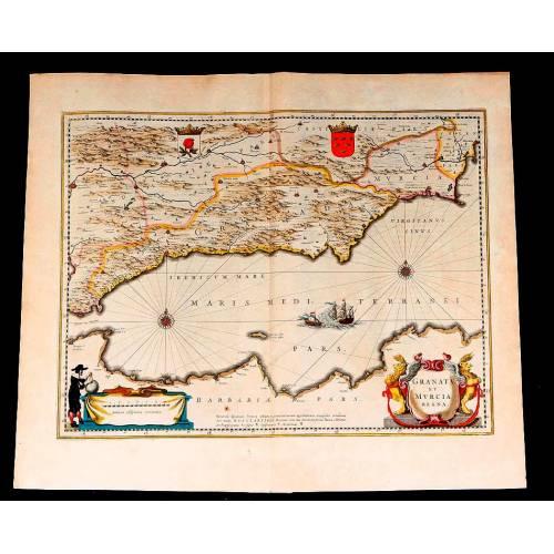 Fantástico Mapa Antiguo de Granada y Murcia Editado por Janssonius-Hondius. Holanda, 1638