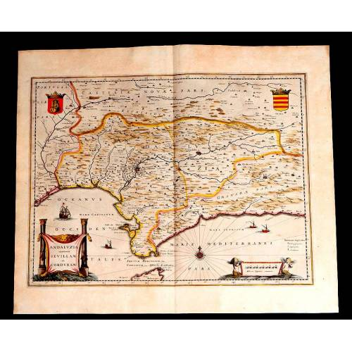 Maravilloso Mapa Antiguo de Andalucía Publicado por Janssonius-Hondius. Holanda, 1638
