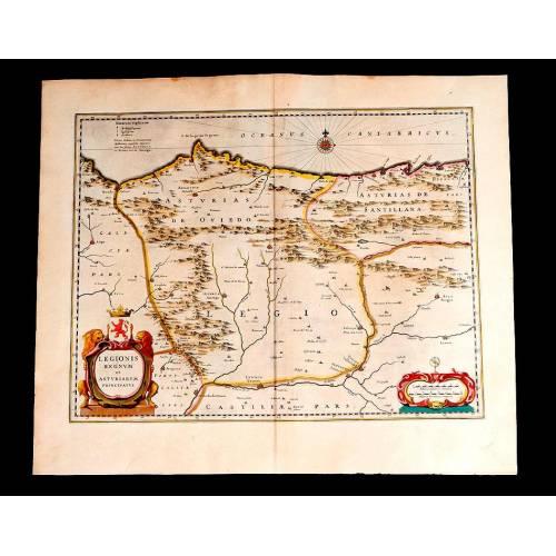 Fantástico Mapa Antiguo del Reino de León y el Principado de Asturias. Holanda, 1638