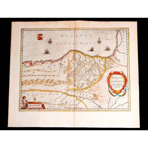 Impresionante Mapa Antiguo de Vizcaya y Guipúzcoa. Janssonius-Hondius. Holanda, 1638