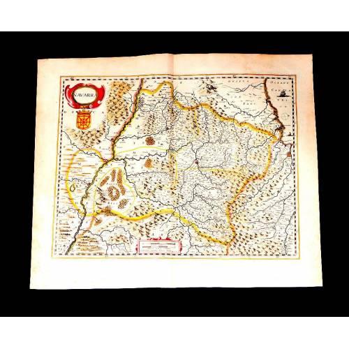 Precioso Mapa Antiguo de Navarra Publicado por Janssonius-Hondius. Holanda, 1638