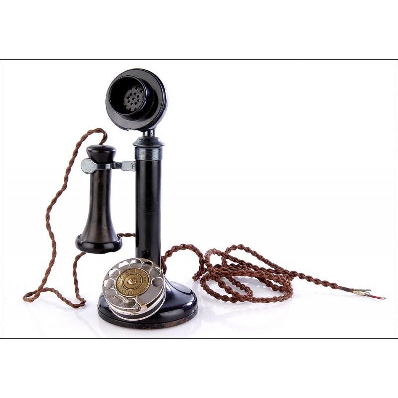 Fantástico Teléfono Antiguo de Baquelita de Tipo Vela. Funciona. Año 1930