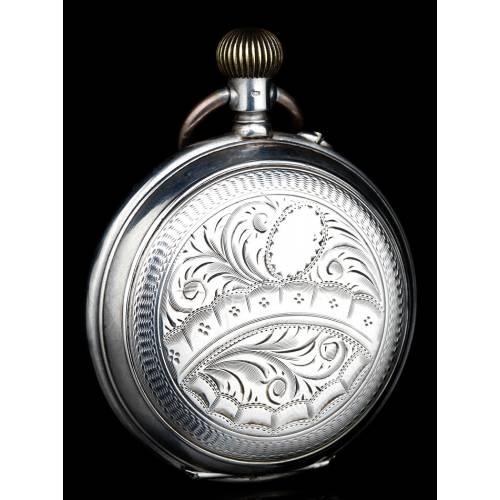 Reloj de Bolsillo Saboneta Antiguo. Plata Maciza. Suiza, 1900