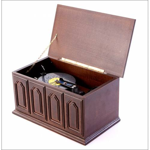 Caja de Música Vintage Thorens con Discos. Suiza, Años 80.