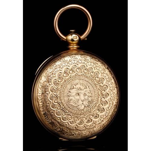 Reloj de Bolsillo Antiguo G. A. Huguenin. Oro 18K. Suiza, 1870