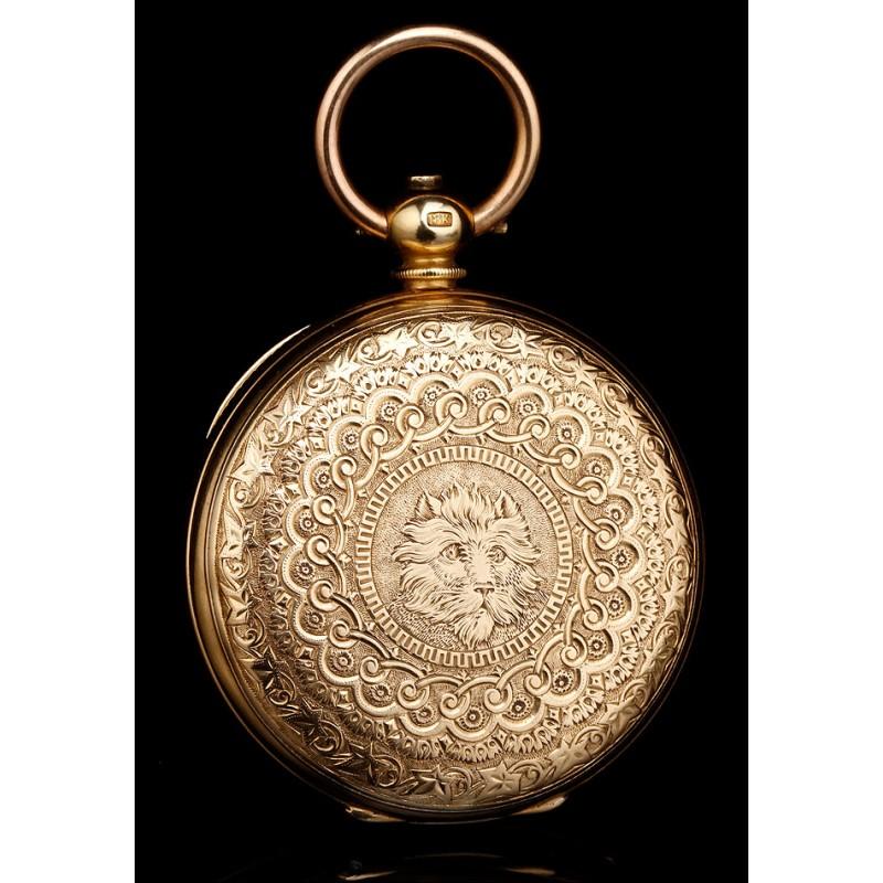 Antiguo Reloj Bolsillo De 18kSuiza1870 GAHugueninOro OPw80XNnk