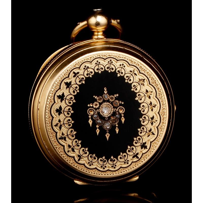 Reloj de Bolsillo en Oro de 18K Huguenin et Fils, 1880