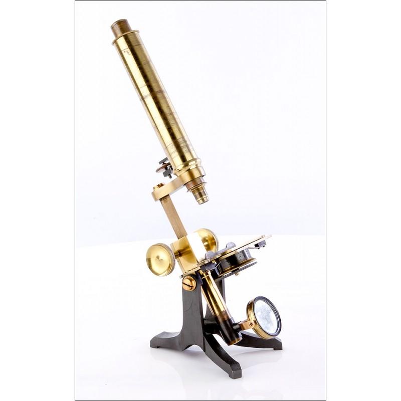Microscopio Compuesto Inglés Antiguo. 1900