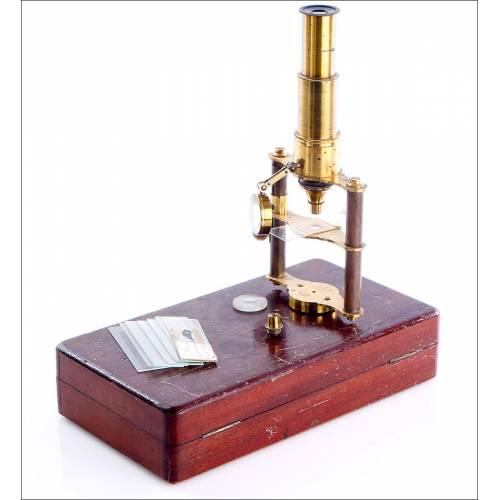 Antiguo Microscopio de Viaje, Circa 1890