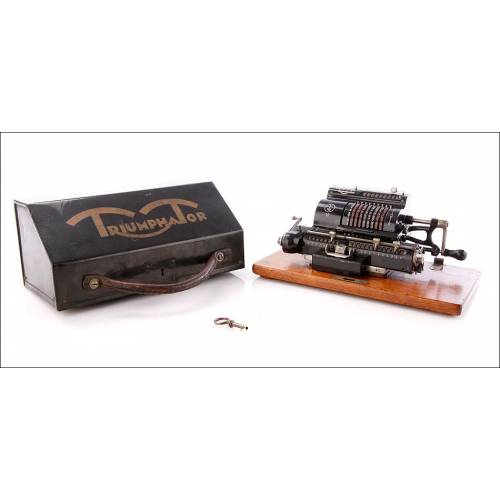 Antigua Calculadora Mecánica Triumphator H, Alemania, 1920