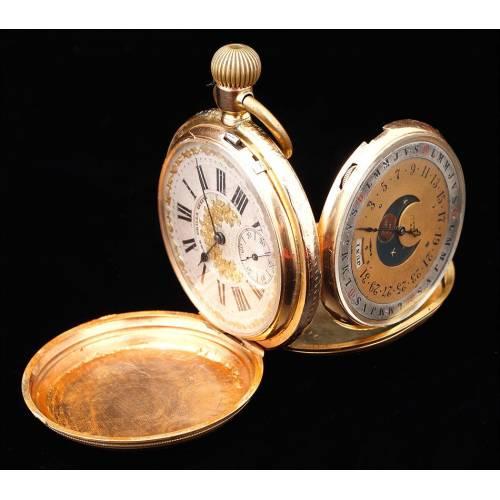 Reloj de Bolsillo Antiguo J. Trilla. Doble Esfera. Suiza, Circa 1890