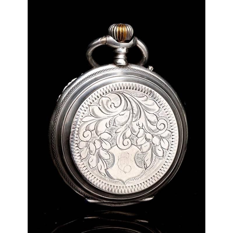 c29509ace24e Antiguo Reloj de Bolsillo de Plata Maciza Grabada. Suiza