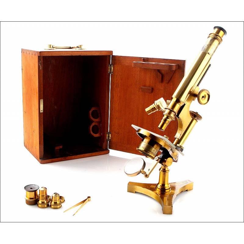 Antiguo Microscopio R. & J. Beck, Inglaterra, Circa 1900
