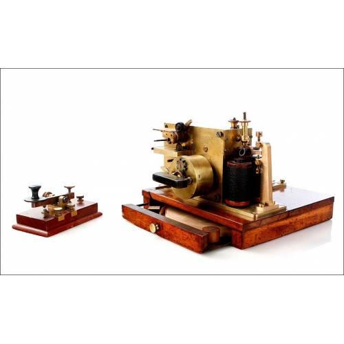 Impresora para Telégrafo Antigua y en Excelente Estado. Alemania, Circa 1900