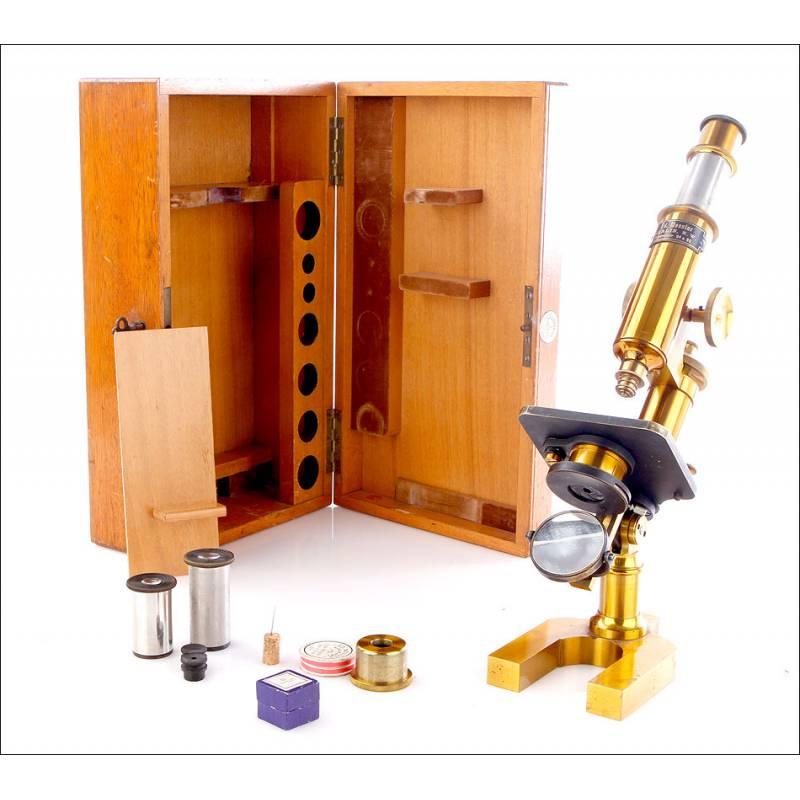 Antiguo Microscopio Eduard Messter, Circa 11890