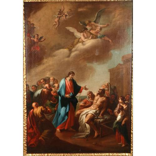 """Óleo Antiguo """"La Resurrección de Lázaro"""". 1777"""