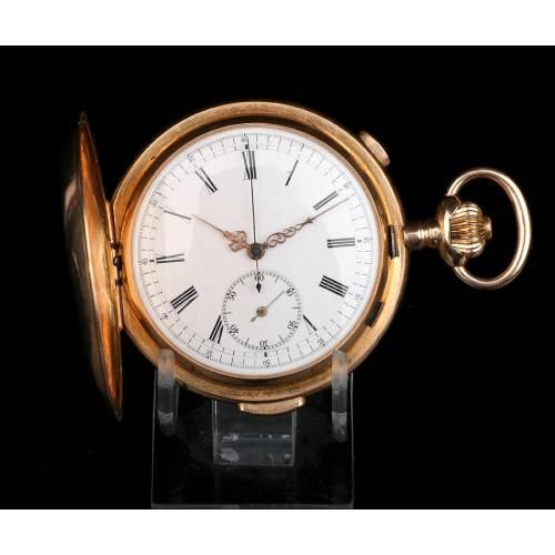 Reloj Bolsillo oro 18K con Sonería Cuartos y Cronometro, Ppios. Suiza, S. XX
