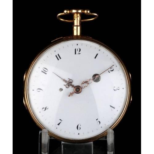 Reloj Bolsillo Catalino Antiguo en Oro 18K con Sonería, Circa 1850