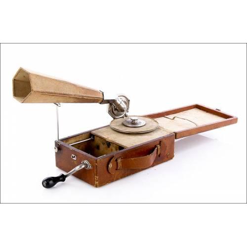 Antiguo Gramófono de Bolsillo Mignonphone, 1920