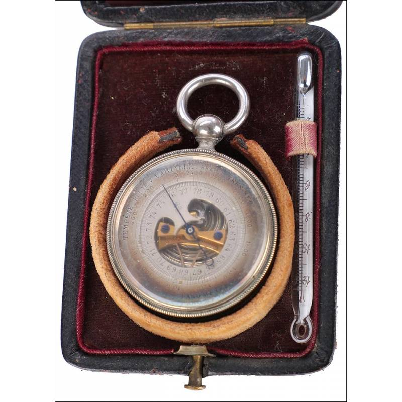 Antiguo Barómetro y Termómetro de Bolsillo, Circa 1900