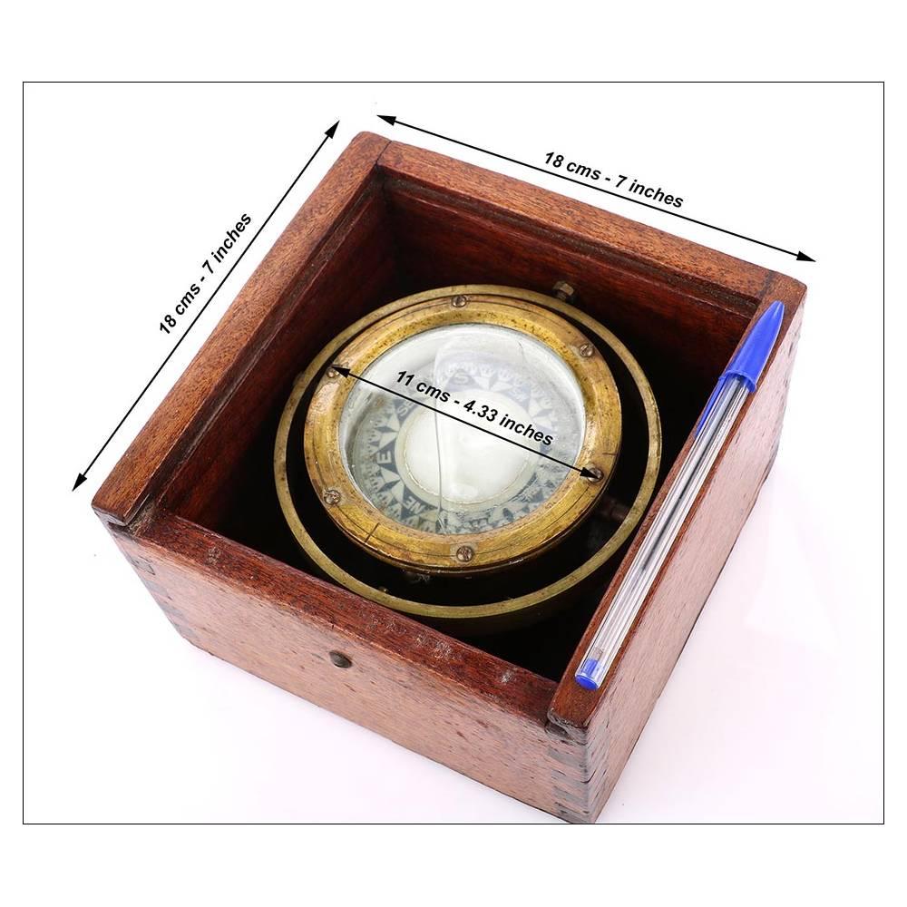 Auténtica Brújula Marina Antigua En Caja De Caoba Maciza Años 30 40