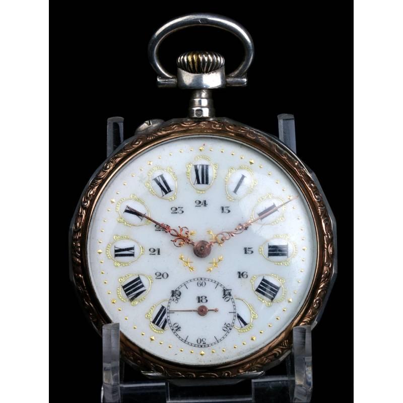 Reloj de Bolsillo Antiguo de Plata con Esfera de Porcelana. Francia, 1900