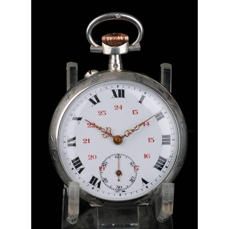 Reloj de Bolsillo Antiguo Francés en Plata Maciza. Francia, Circa 1900