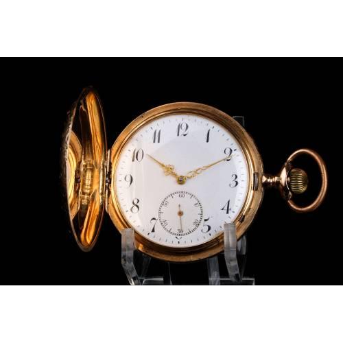 Precioso Reloj de Bolsillo Antiguo en Oro 14K. Suiza, 1910-20