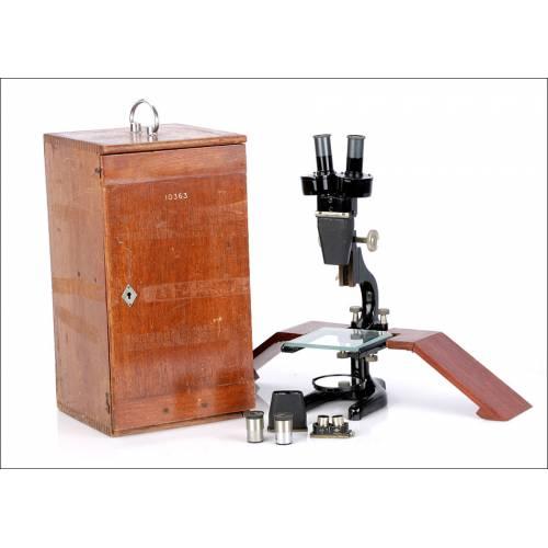 Microscopio Estereoscópico Antiguo. W. R. Prior y Co. Inglaterra, 1948