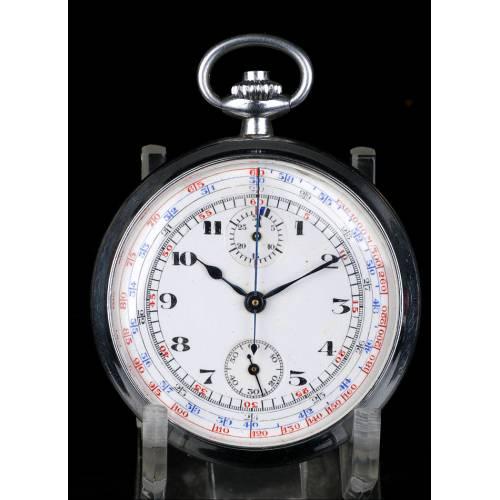 Reloj de Bolsillo Antiguo con Cronómetro. Metal Plateado. Circa 1930