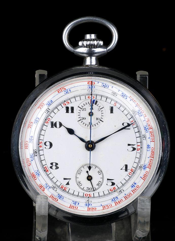 Antiguo Reloj de Bolsillo con Cronómetro. Metal Plateado