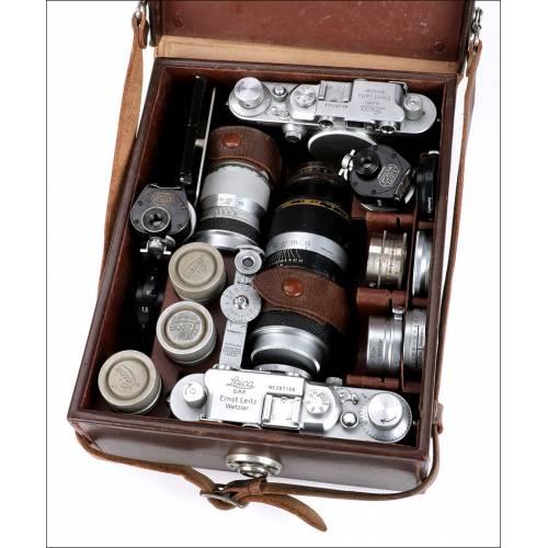 Lote de Cámaras Leica Antiguo. Equipo Fotográfico. Alemania, 1938