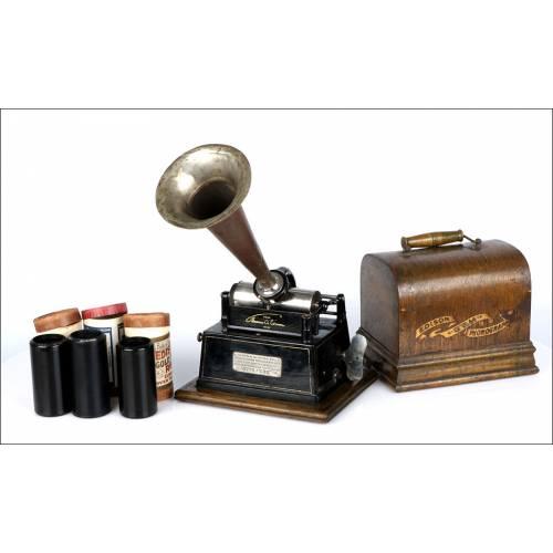 Precioso fonógrafo antiguo Edison GEM Tipo I. USA 1898