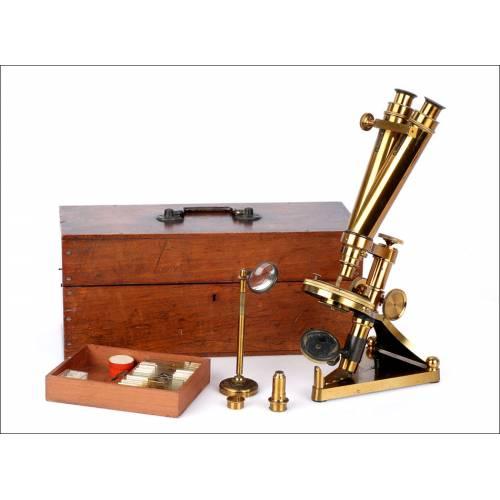 Antiguo Microscopio Binocular R&J Beck. Inglaterra, 1900