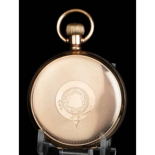 Antiguo y Magnífico Reloj de Bolsillo Waltham Chapado en Oro. USA, 1919