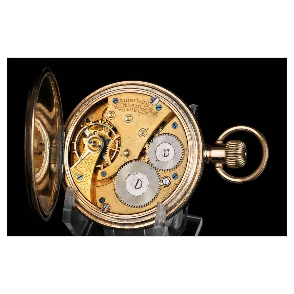Antiguo Reloj De Bolsillo Waltham Chapado En Oro Usa 1919