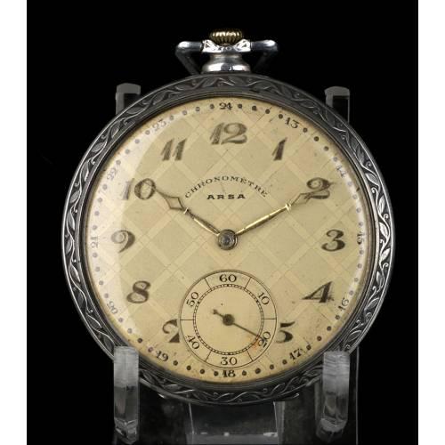 Reloj de Bolsillo Antiguo Art Decó en Plata Maciza. Suiza, Años 30