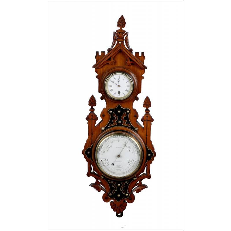 Reloj de Pared Antiguo con Barómetro-Termómetro. Inglaterra, 1910