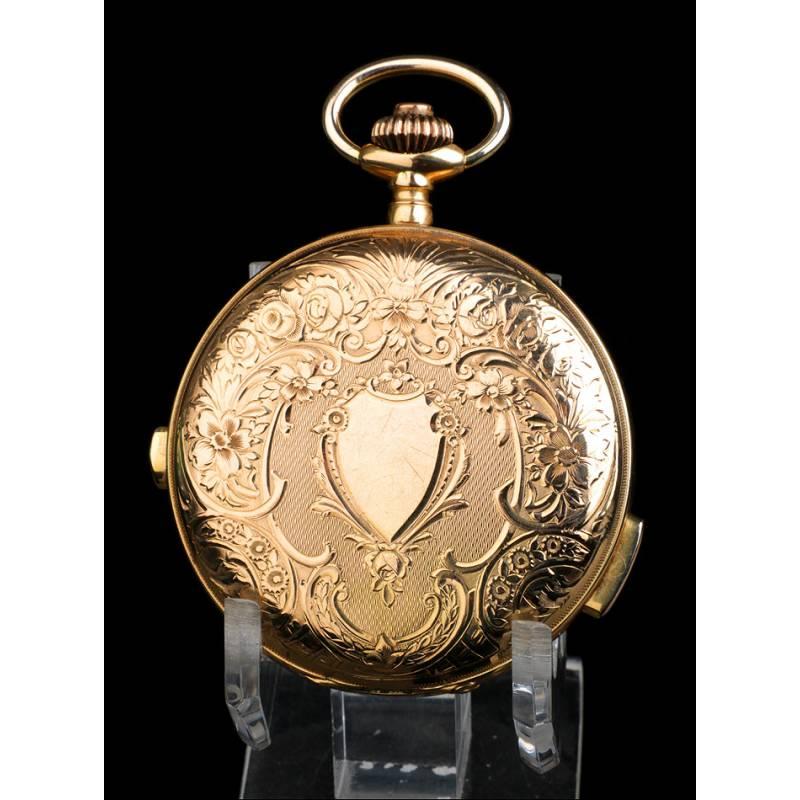 Reloj de Bolsillo Antiguo. Sonería Cuartos y Cronómetro. Oro 18K. Suiza, 1910