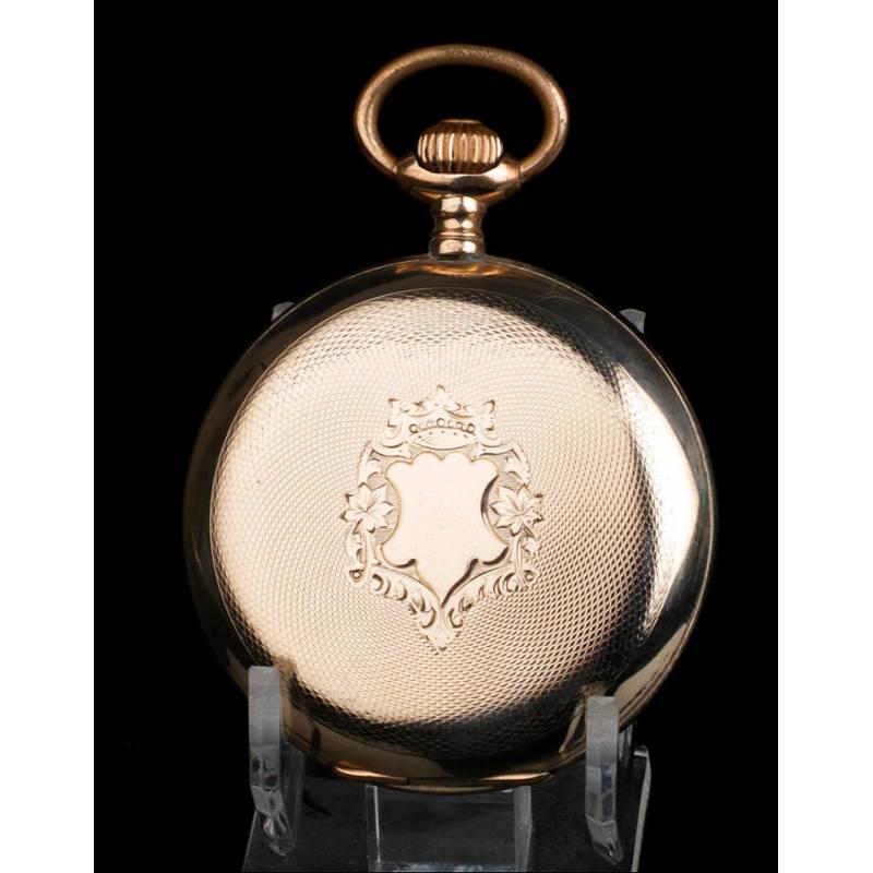 Reloj de Bolsillo Antiguo Chapado en Oro. Suiza. Circa 1910