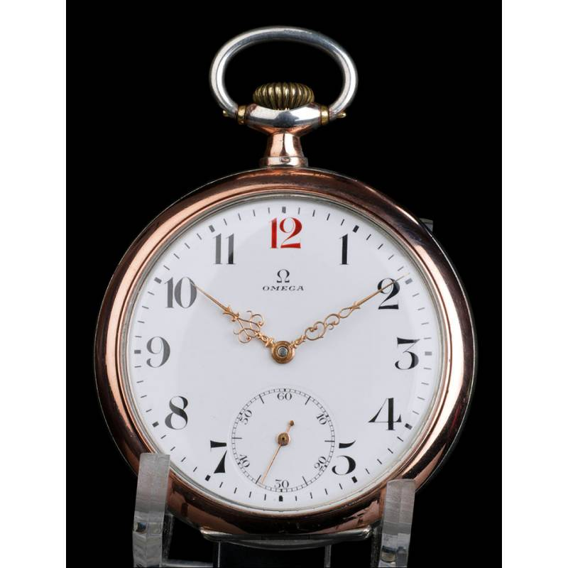 3b975f91bc16 Reloj de Bolsillo Antiguo Omega en Plata Maciza. Suiza