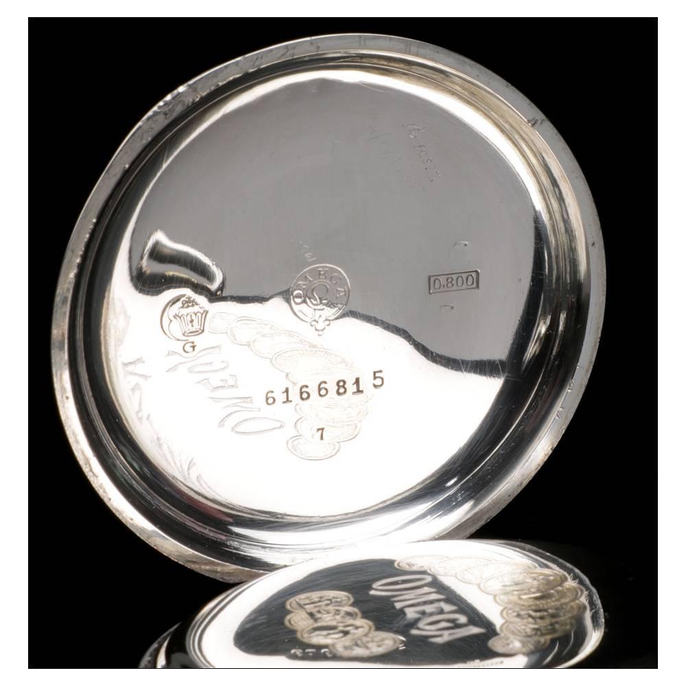 disponible reloj ofertas exclusivas Reloj de Bolsillo Antiguo Omega en Plata Maciza. Suiza, 1919