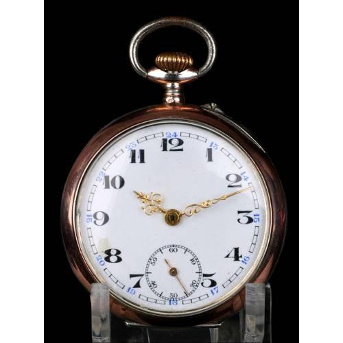 Antiguo Reloj de Bolsillo de Cilindro en Plata. Suiza, Circa 1900