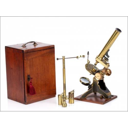 Microscopio Watson & Sons Antiguo. Inglaterra 1880