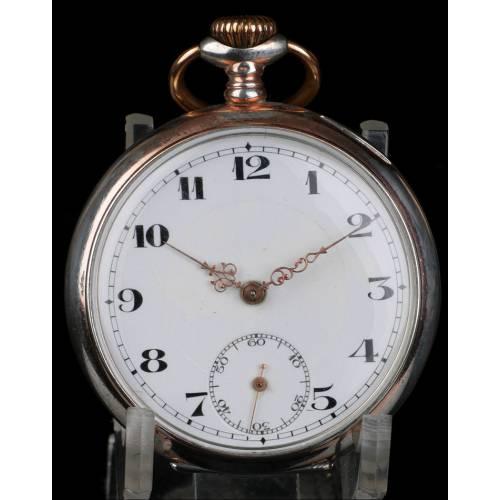 Reloj de Bolsillo Antiguo en Plata Maciza. Suiza, Circa 1900