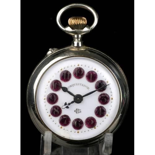 Reloj de Bolsillo Antiguo. Numeración esmaltada. España, 1900
