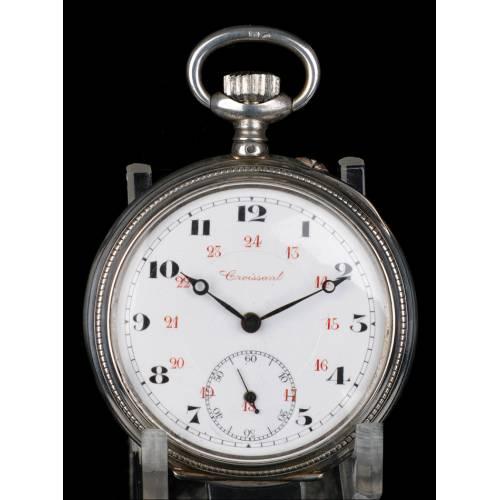 Reloj de Bolsillo Antiguo de plata. Croissant. Suiza, Circa 1900