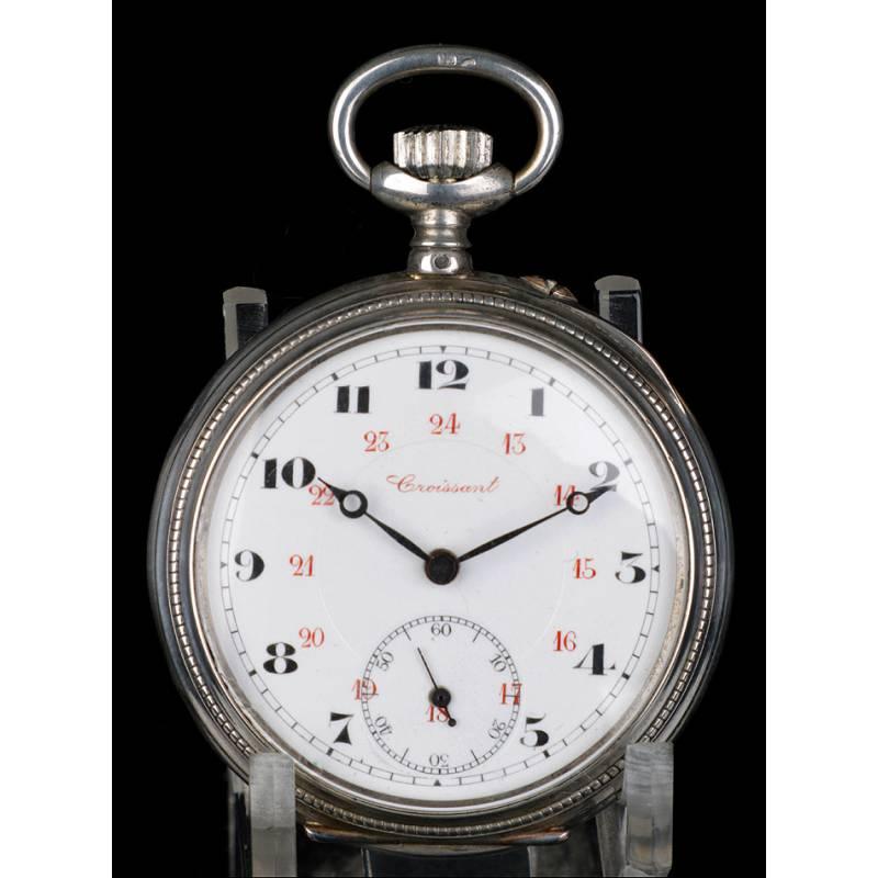 5fff14311f8c Antiguo Reloj de Bolsillo de plata. Croissant. Suiza