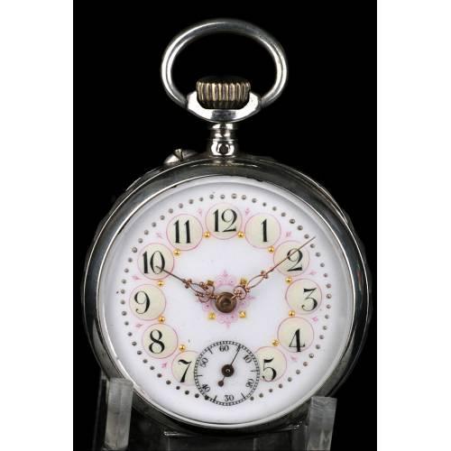 Reloj de Bolsillo Antiguo en Plata. Francia, Circa 1900